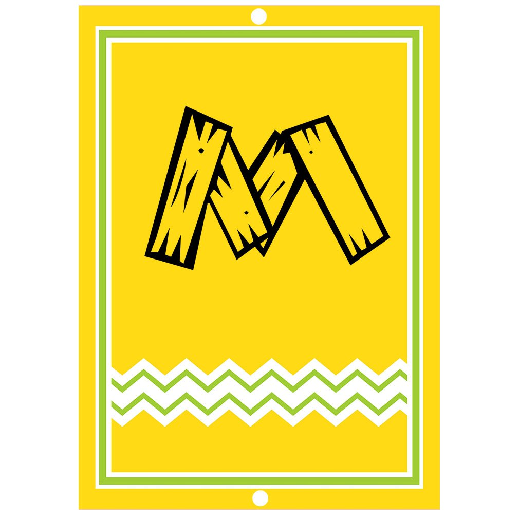 ''M '' Wood Initial Monogram Personalized Letter M Blue Room Nursery Décor METAL Sign Yellow