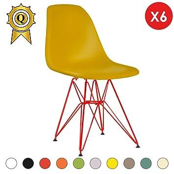 Verkauf 6 x Designer-Stuhl Beine:Stahl Lack Rot Stitz:Senf Mobistyl ...