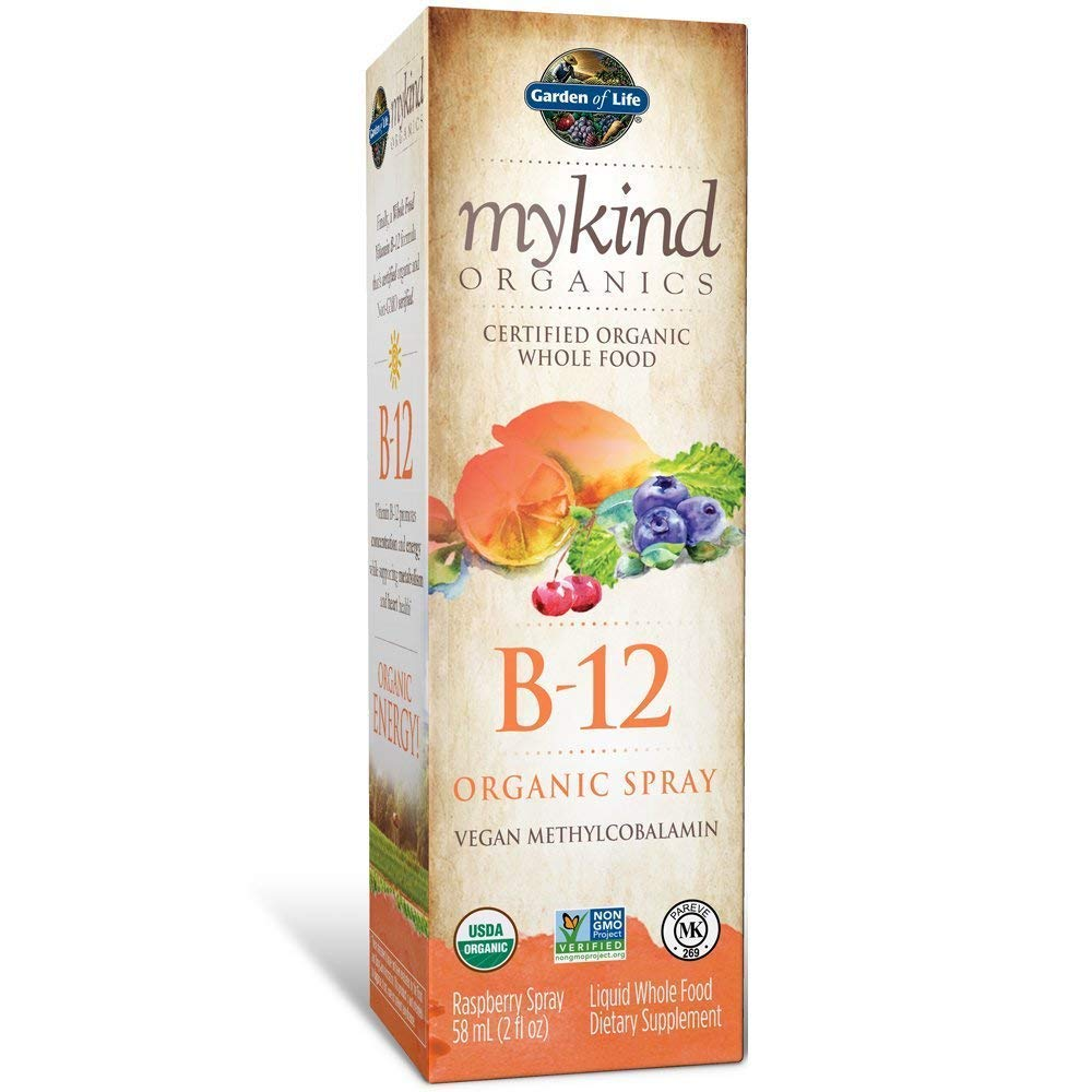 Garden of Life B12 Vitamin - mykind Organic Whole Food B-12 for Metabolism and Energy, Raspberry, 2oz Liquid 2 PACK