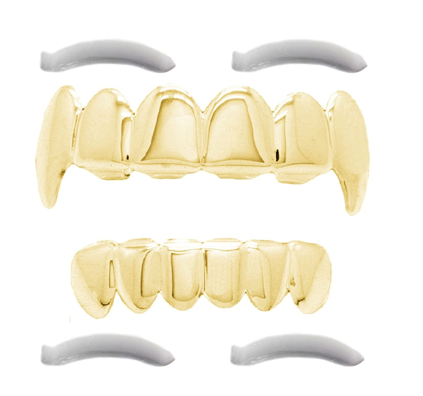 Grillz placcato in oro 24K con denti aguzzi per bocca set denti Hip Hop superiore inferiore + 2 barre di modellatura extra Top Class Jewels TC-GRI-ES
