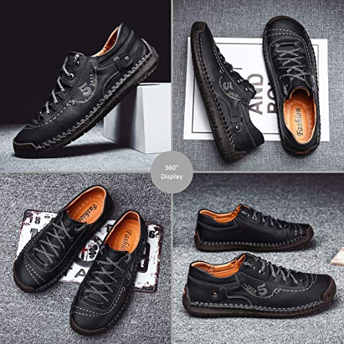 Mens Casual Shoes Handmade Leather Loafers Breathable Slip On Driving Shoes Comfort Flats Oxford Walking Shoes