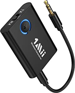1Mii Bluetooth 5.0 Transmitter Receiver, 2-in-1 Wireless Aux Adapter 3.5mm Jack, AptX Low Latency Dual Link, Bluetooth Transmitter for TV/PC, Bluetooth Receiver for Speaker/Home Stereo/Car