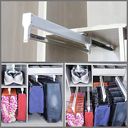 Delicieux Amazon.com: 500mm/19.7u0027u0027 Pull Out Closet Valet Rod Adjustable Wardrobe  Clothing Rail Top Mount Wardrobe Hanger Rack Bar Ball Bearing Slide Heavy  Duty: Home ...