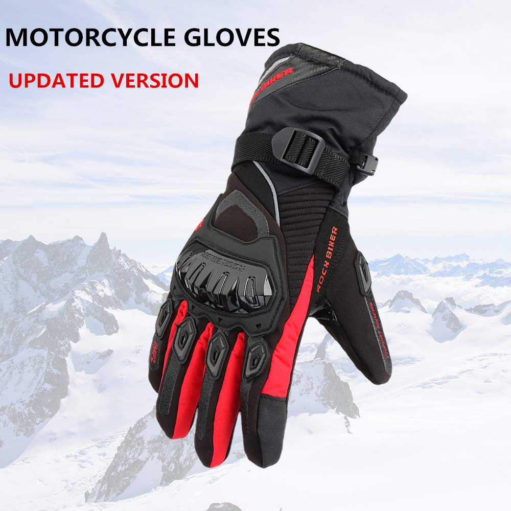 KEMiMOTO Motorcycle Gloves Winter Touchscreen Riding Gloves Waterproof Updated Version Four-layer Structure Third Generation (M Black) VicsaWin