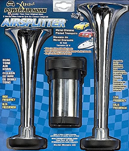 Wolo (415) Airsplitter Metal Chrome Trumpet Horns - 12 Volt, Low and High Tone