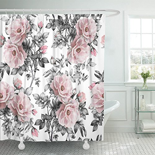 Emvency Shower Curtain Gray Retro with Pink Flowers and Leaves on White Watercolor Floral Pattern Rose in Pastel Color Painting Waterproof Polyester Fabric 72 x 72 inches Set with Hooks