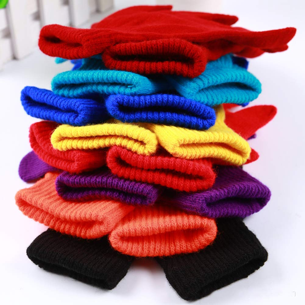 Fashion Solid Color Women Men Winter Soft Warm Magic Full Finger Gloves Gift Yellow