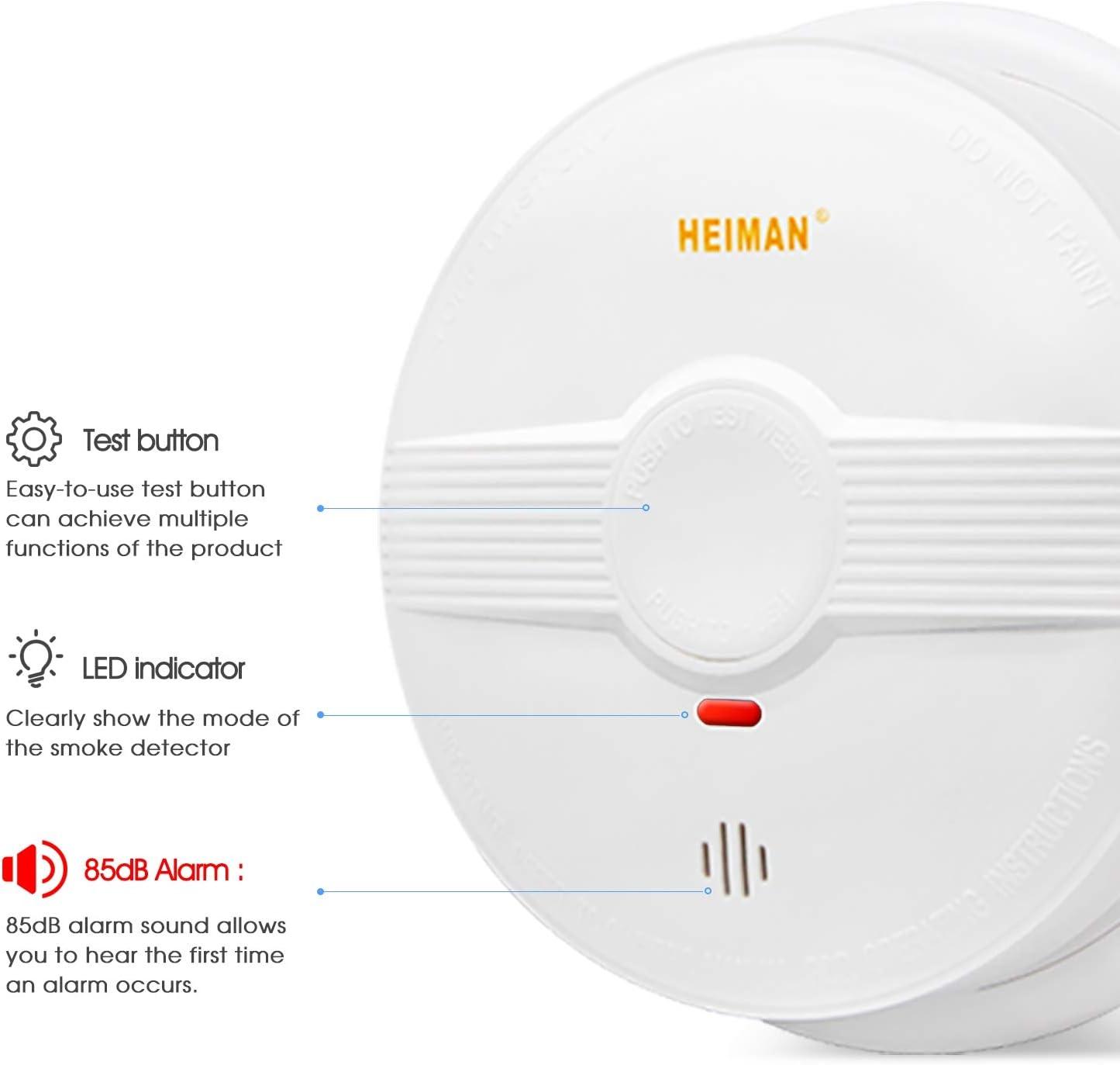 HEIMAN 633PHS D/étecteur de fum/ée avec autonomie de 10 ans Certifi/é T/ÜV EN14604 D/étecteur de fum/ée avec capteur photo/électrique