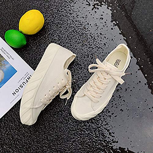 UK6 Piatto TTSHOES Donna CN39 Sneakers Punta EU39 Scarpe White US8 Per Nero Bianco Tonda Estate Comoda Corda Di 848afq