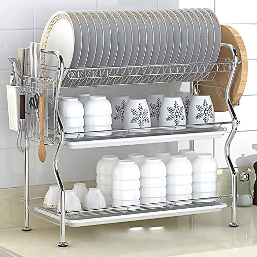 Stainless Steel Kitchen Dish Rack Sturdy Bowl Drying Organizer Cookware Holder