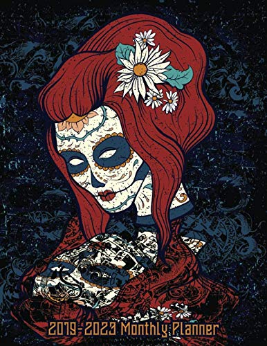 (2019-2023 Monthly Planner: Sugar Skull Red Head Woman Five Year Calendar 8.5x11 144 Pages)