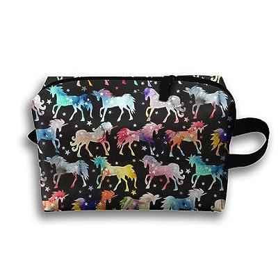 SO27Tracvel Rain Rainbow Watercolour Galaxy Unicorns Black Toiletry Bag Dopp Kit Tactical Bag Accessories Travel Case