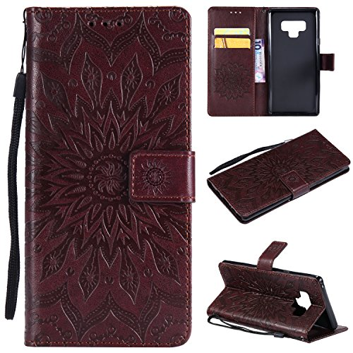 Leather Wallet Case for Samsung Galaxy Note 9 with Hand Strap,Gostyle Samsung Galaxy Note 9 Flip Magnetic Closure Brown Case Embossed Sunflower Pattern,Bookstyle with Card Slots Stand Cover ()