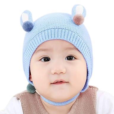 BIGBOBA Bebé Tejer Sombreros Niño niña Bebé Oreja de Animal Encantador Gorros Bebé Invierno Gorros: Amazon.es: Ropa y accesorios