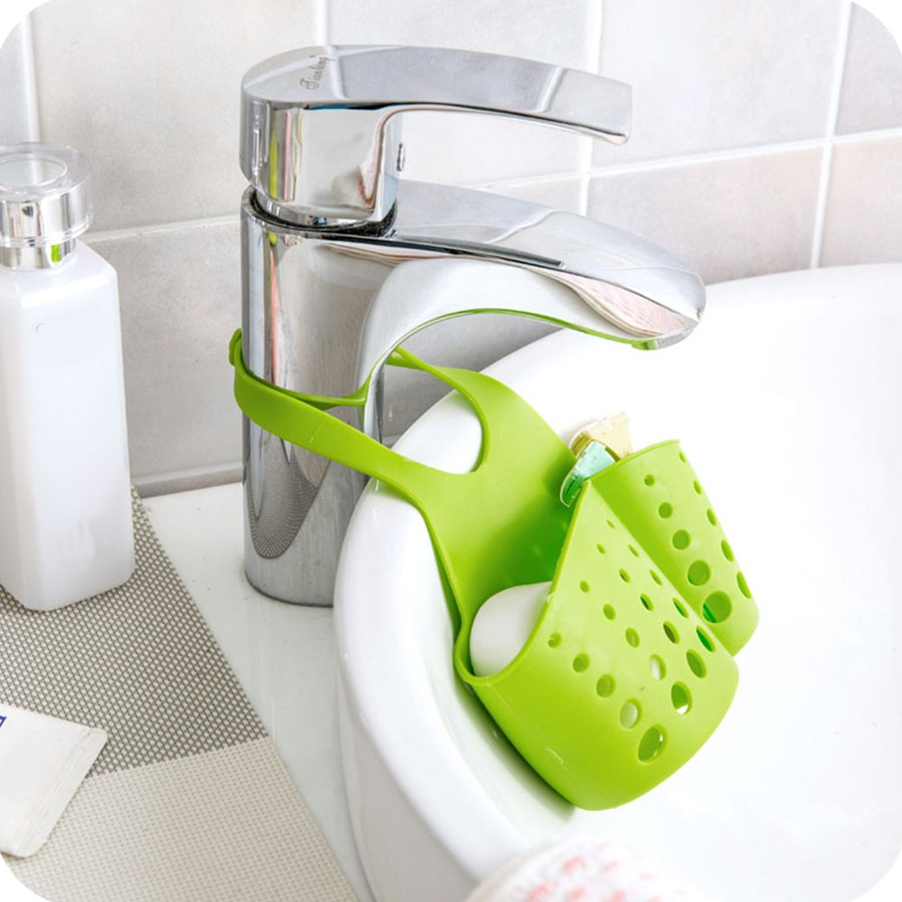 Cesta de almacenamiento colgante, estante de plástico para fregadero organizador de cocina, baño Tamaño libre amarillo
