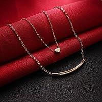 wanmanee Women Chain Double Layer Necklace Love Heart Pendant Choker Gold