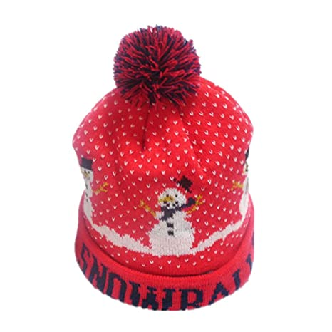 Amazon.com  BESTOYARD Light Up Christmas Hat Beanie LED Knitted Light Wool  Hat with Snowman Pattern for Kids Adult Xmas Holiday Party Gifts (Red)   Home   ... d76f83f7ef6