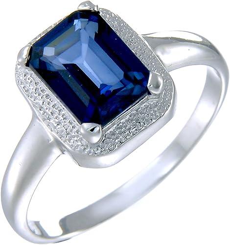 Sterling Silver créé saphir bleu Ring 1.20 ct en taille 7