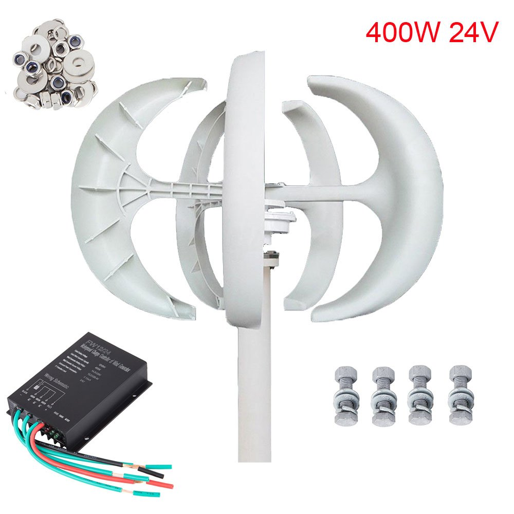 Seeutek Wind Turbine Generator White Lantern 5 Leaves Vertical Axis 400W 24V Kit with Controller