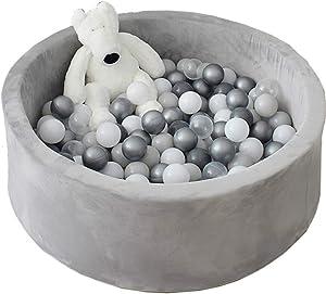 Avrsol Ball Pit for Toddlers Kids Foam Handmade Kiddie Balls Pool, Baby Playpen, Grey