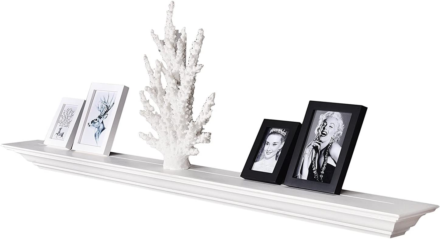 WELLAND White 60 Inch Fireplace Mantel Shelf Wall Mounted,Solid Pine Wood Finished Corona Crown Molding Floating Wall Photo Ledge Shelves