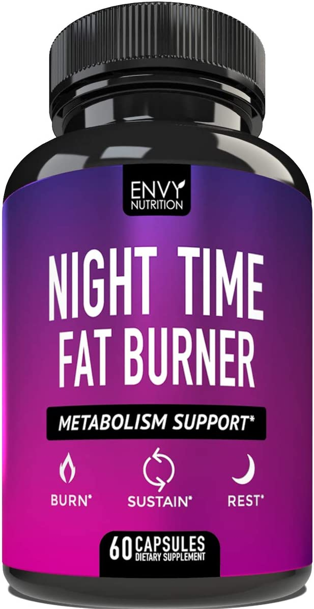 Night Time Fat Burner – Metabolism Support – Curb Appetite, Sustain Energy and Sleep for Men and Women- 60 Capsules