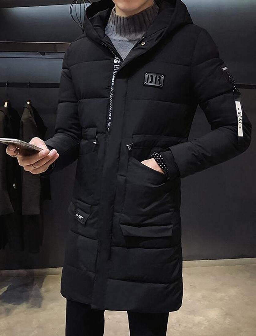 Fubotevic Mens Thicken Warm Winter Mid Length Hooded Quilted Jacket Coat Outerwear