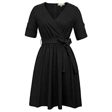 Trendy-Nicer Vintage V-Neck Retro Elegant Hepburn 50s Party Christmas Dresses with Belt
