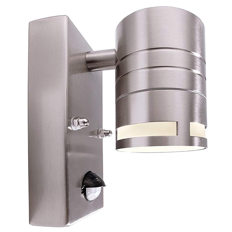 Applique acciaio inox per esterni led gu10 7w con sensore di movimento integrato