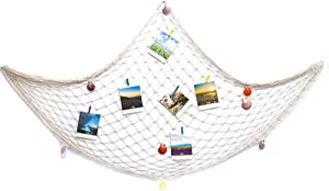 SUPERFINDINGS Decorative Fishing Net Wall Decor with Seashells Beach Theme Decor for Party Home Bedroom Mediterranean Style Nautical Decorative White