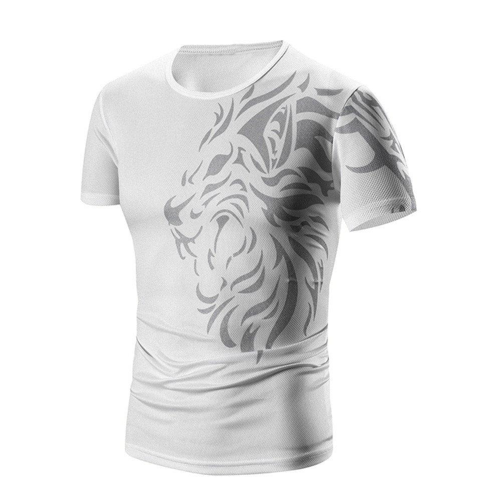 PASATO Men Summer Round Neck Tee Printing Men's Short-Sleeved T-Shirt Top Blouse(White-1,M=US:S) by PASATO Blouse For Men (Image #3)