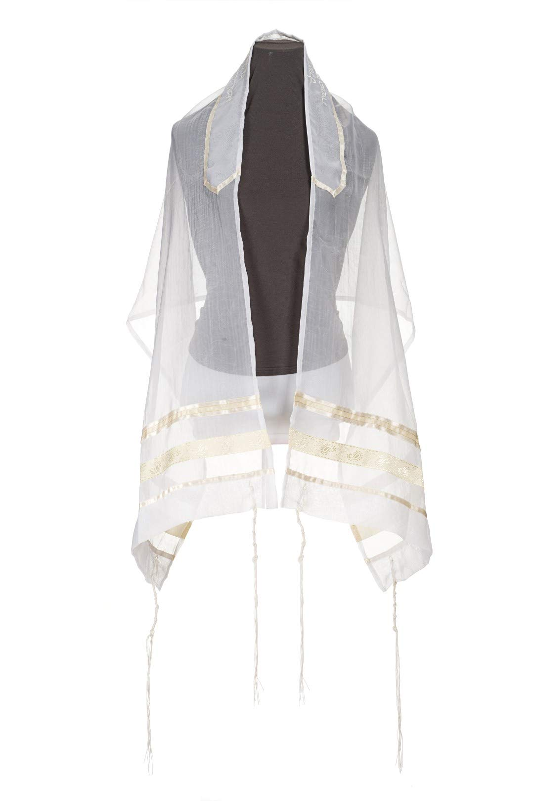 Cream Paisley Bat Mitzvah Tallit, women's Tallit,70 inches X 20 inches by Galilee Silks from Israel