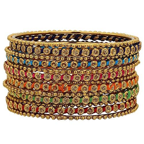 Sukriti Indian Designer Stylish Silk Thread Bracelet Bangle Jewelry for Girls & Women - Set of 13 | Size: 2.8