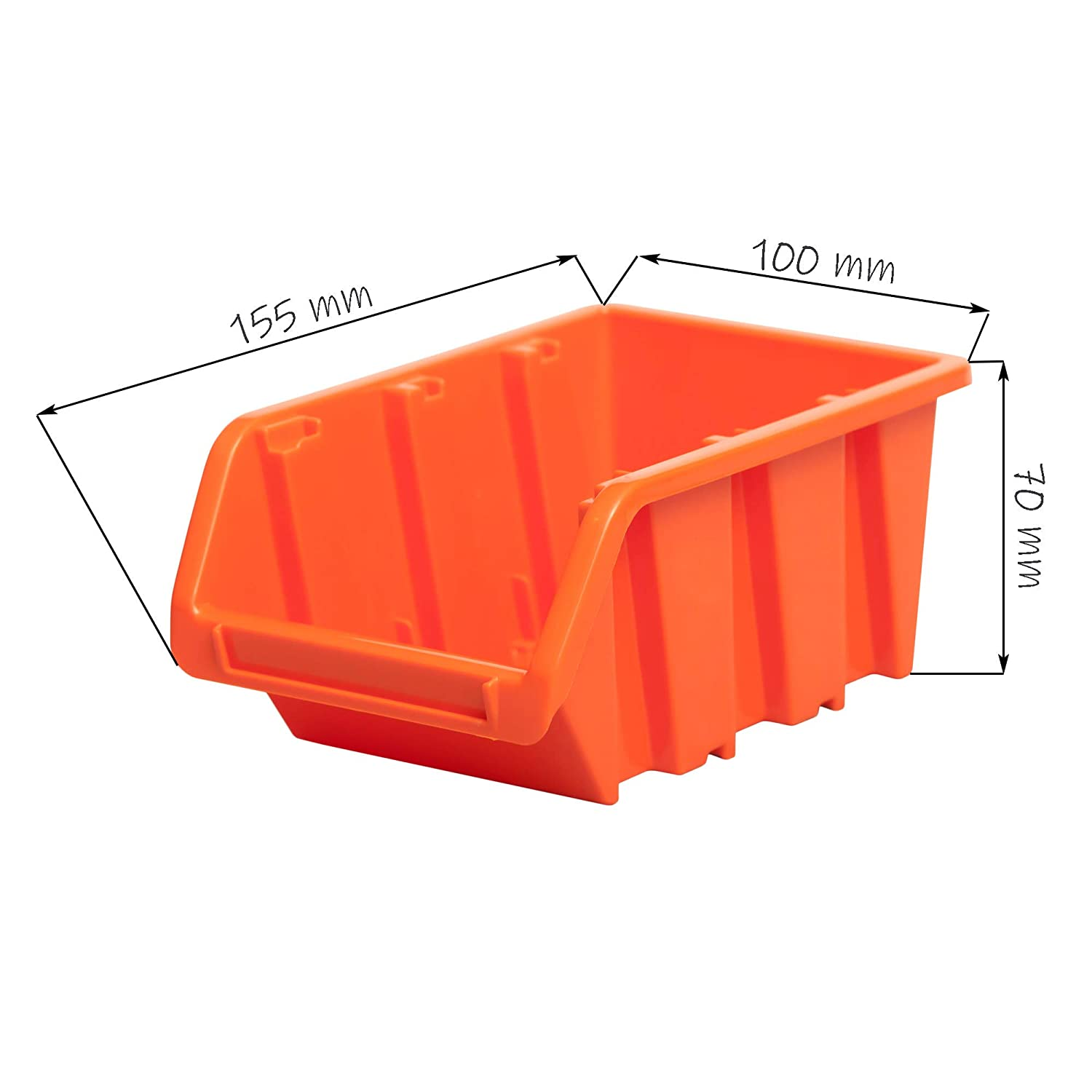 Wandregal Regal InBox Gr.2 orange Werkstatt Lochwand Starke Wandplatte 126 tlg