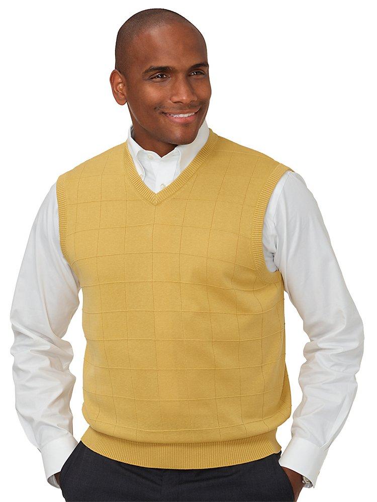 Paul Fredrick Men's Silk Grid V-Neck Vest Yellow Small