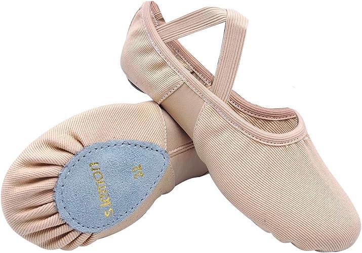 S.lemon Alta El/ásticos de Lona Zapatillas de Ballet Zapatos de Baile para Ni/ñas Mujeres Ni/ños