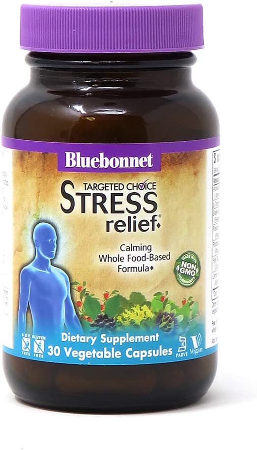 Bluebonnet Nutrition Targeted Choice Stress Relief, Whole Food-Based Formula, For Emotional Physical and Mental Stress, Soy-Free, Gluten-Free, Kosher, Non-GMO, Dairy-Free, Vegan, Vegetable Capsules 30