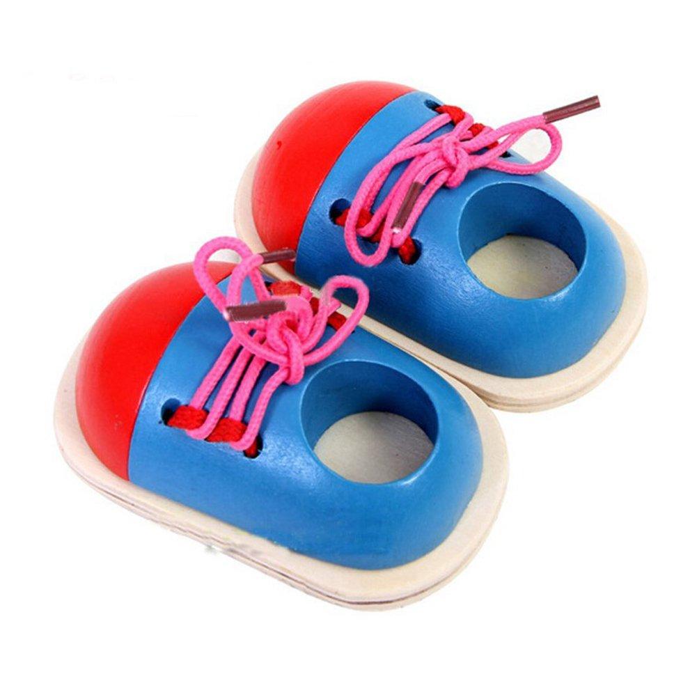 Juleya 1 paire de chaussures en bois de lacet de jouets, d'apprentissage Cravates lacets, éducatifs à la main / coordination de l'oeil de développement des enfants