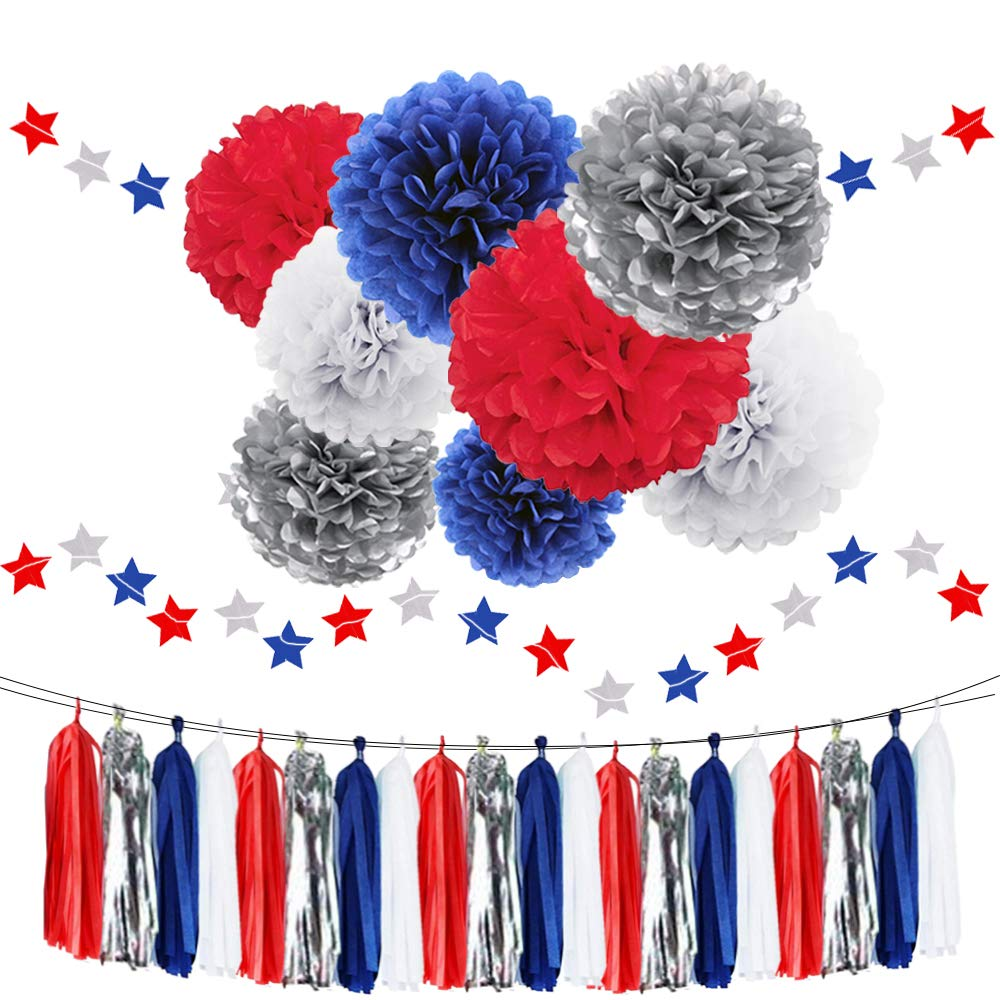 Nautical Party Decoration 30pcs Tissue Paper Pom Poms Navy Blue Red White Silver Paper Flowers Twinkle Stars Glitter Paper Garlands for Patriotic Decorations National Day Birthday Baby Shower Wedding WAYSLA