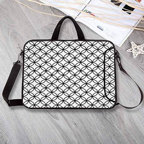 "(Geometric Circle Decor Anti-Seismic Neoprene Laptop Bag,Minimalist Monochrome Interlace Circle Pattern Modules Pattern Laptop Bag for Travel Office School,12.6""L x 9.4""W x 0.8""H)"