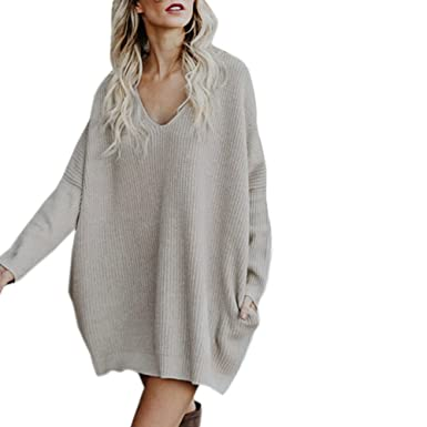 00d439e5cd6a0 Limsea Womens Autumn Winter Knitted Shirt Pullover Long V-Neck Plus Size  Sweater Tops(
