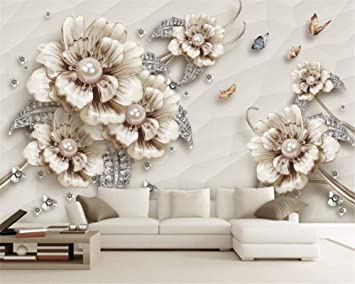 Amazon Com Nidezuiai Mural Customize 4d Wallpaper Luxury Ornament Floral Butterfly Plant Series Hd Print Art Print Wall Painting Poster Picture Large Silk Mural For Living Room Bedroom Home Decor Furniture Decor