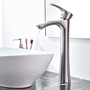 KINGO HOME Contemporary Single Handle Tall Vessel Sink Brushed Nickel Vanity Bathroom Faucet, Basin Mixer Tap