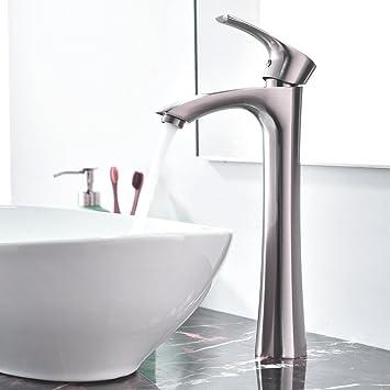 Kingo Home Contemporary Single Handle Tall Vessel Sink Brushed Nickel Vanity Bathroom Faucet Basin Mixer Tap