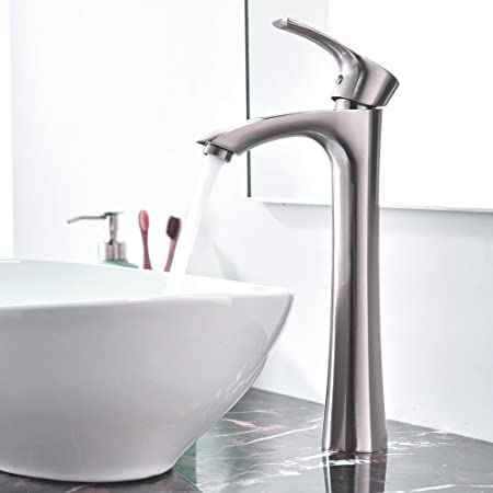 Vessel Brushed Nickel Bathroom Sink Faucet One Hole//Handle Mixer Tap USA MY