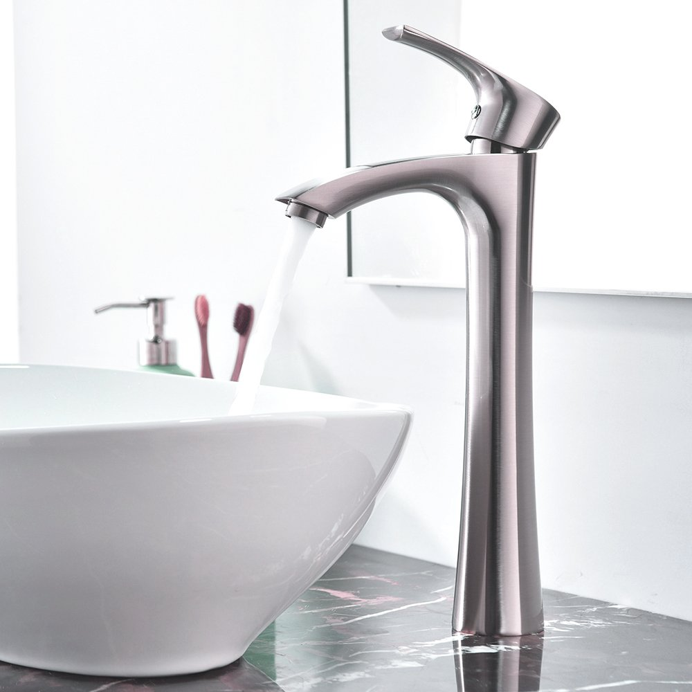 KINGO HOME Contemporary Single Handle Tall Vessel Sink Brushed Nickel Bathroom Faucet, Basin Mixer Tap by KINGO HOME