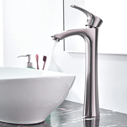 Astounding Kingo Home Contemporary Single Handle Tall Vessel Sink Brushed Nickel Bathroom Faucet Basin Mixer Tap Home Interior And Landscaping Mentranervesignezvosmurscom