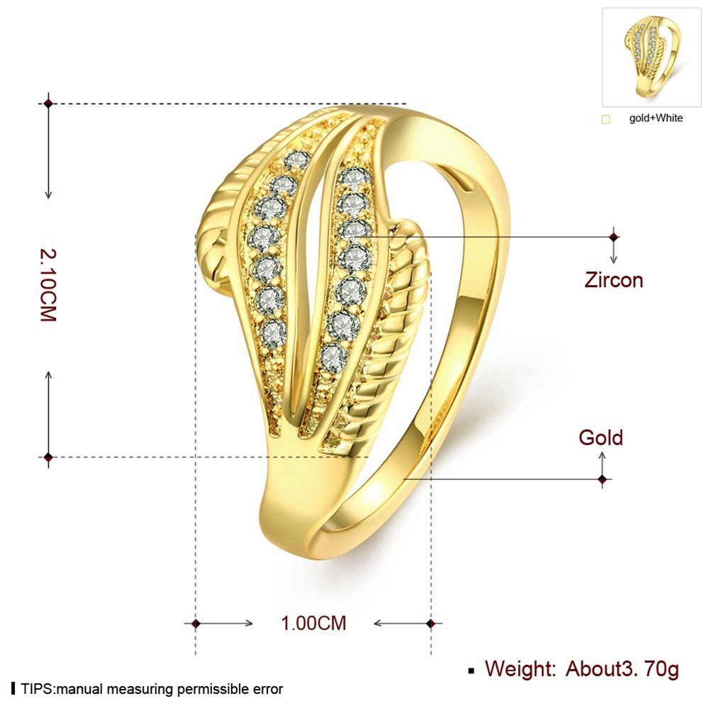 18K Gold Plated Wave Ring Wedding Band Statement Jewelry Simulated Diamond Infinity Love by Mrsrui (Image #3)