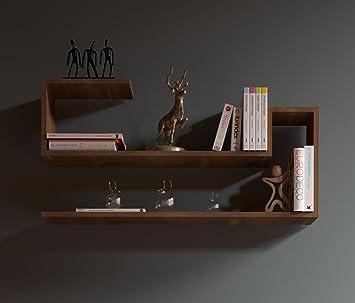 Wave étagère Murale Noyer étagère à Livres Pour Décoration De