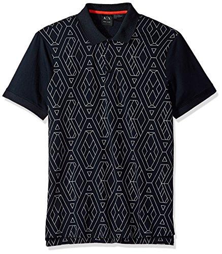 A|X Armani Exchange Men's Short Sleeve Polo Shirt, Navy Geometric, M